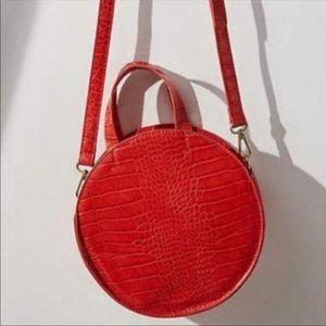 Anthropologie Red Faux Croc Circle Bag
